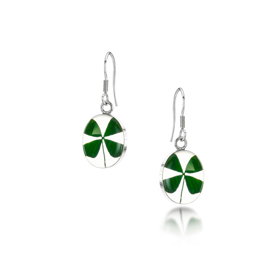 Four Leaf Clover Oval Drop Earrings