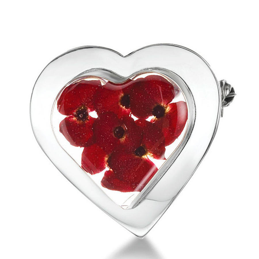 Poppy Heart Shaped Brooch