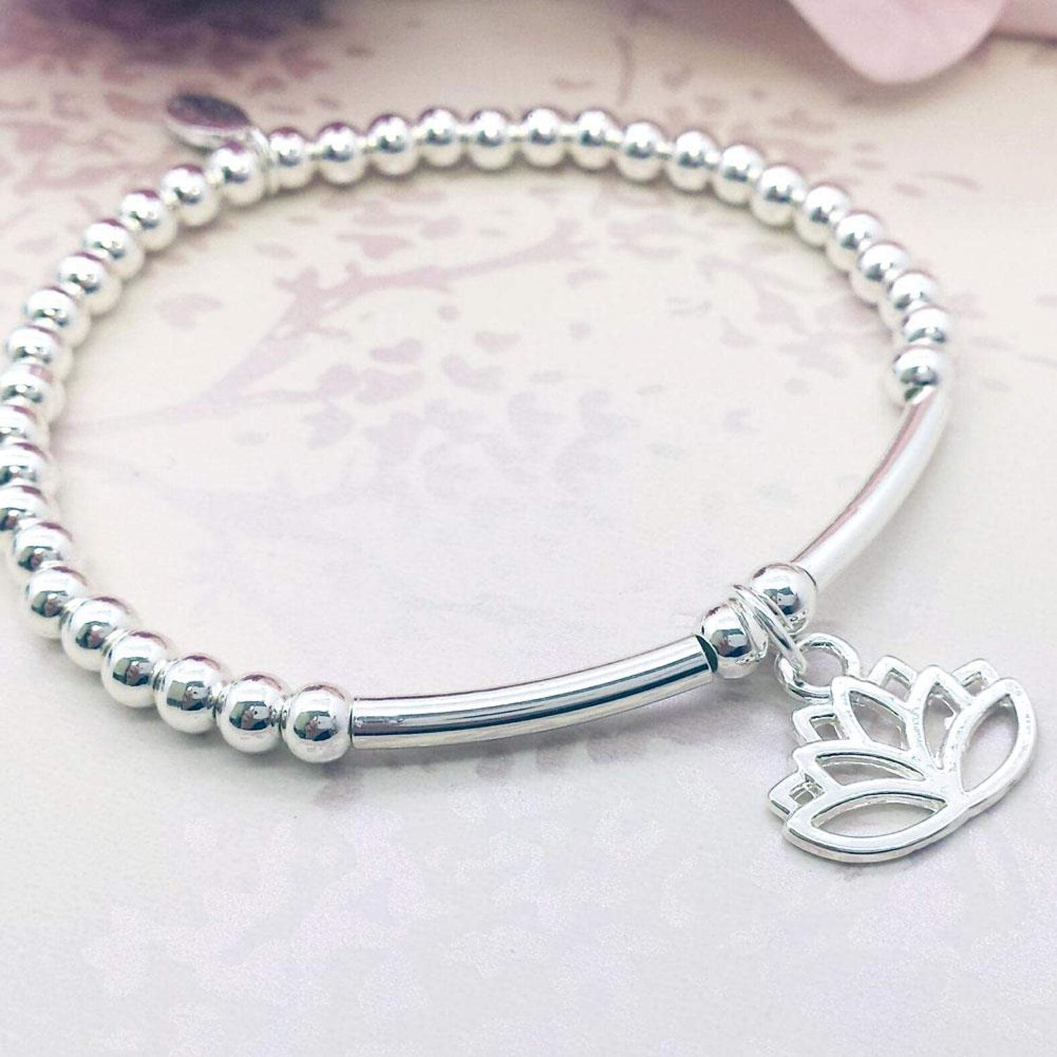 Lotus Flower Charm Stacking Bracelet