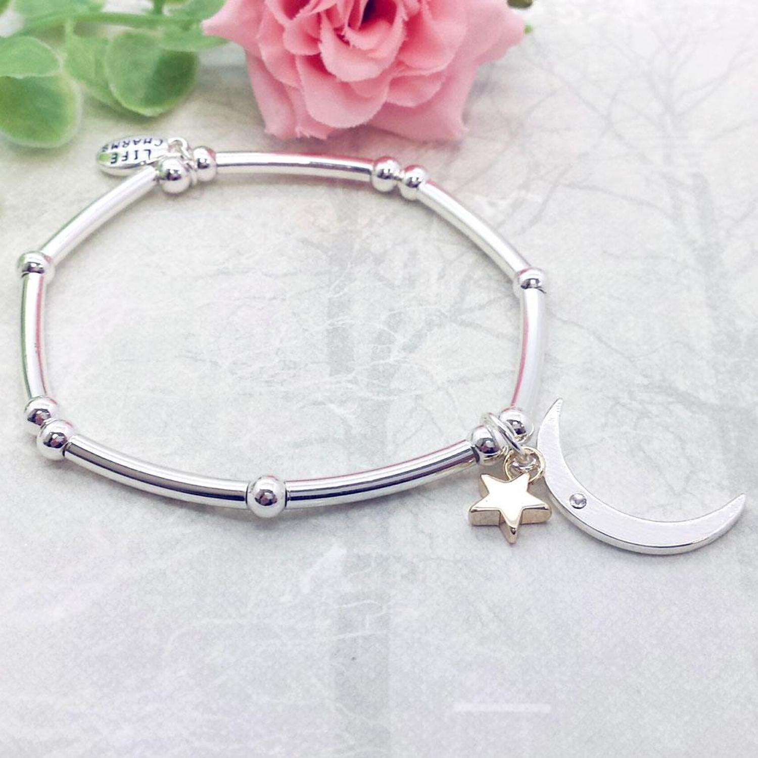 Moon & Star Charm Stacking Bracelet