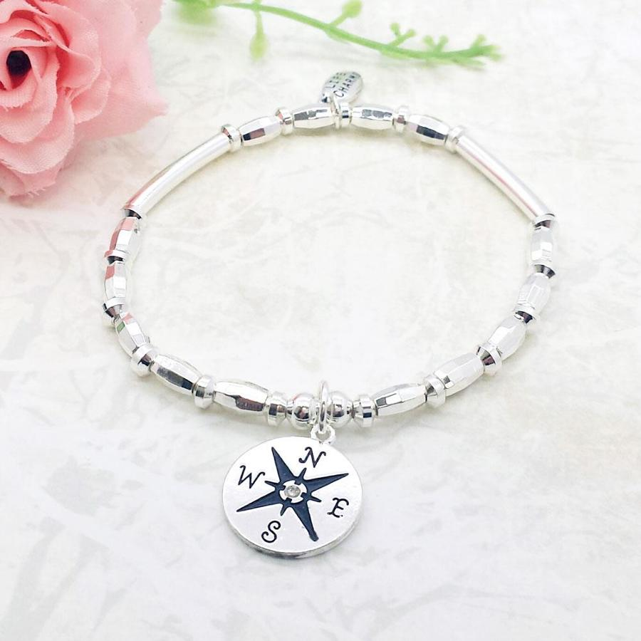 Compass Travel Charm Stacking Bracelet