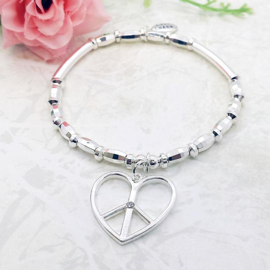 Peace Heart Charm Stacking Bracelet