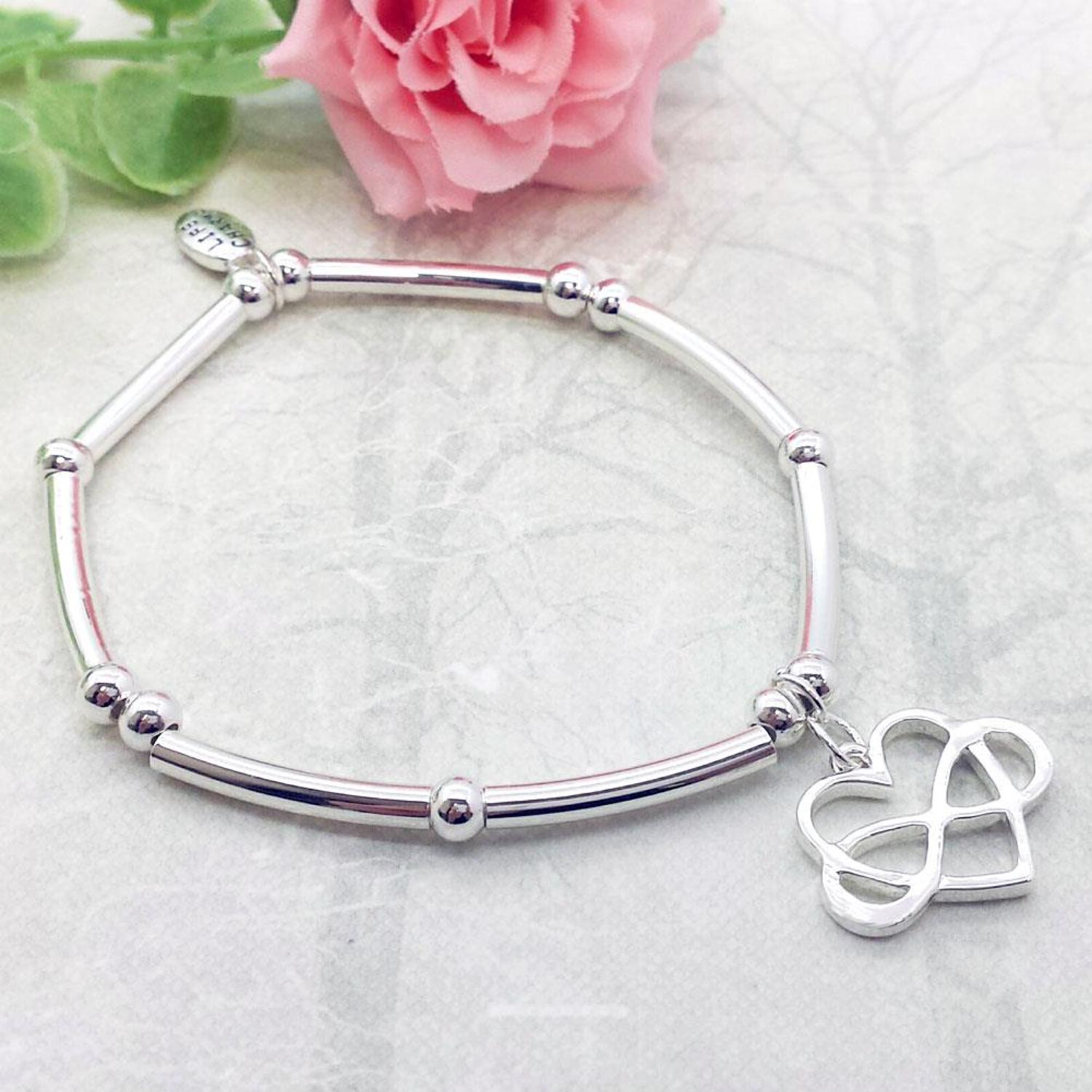 Infinity Heart Charm Stacking Bracelet