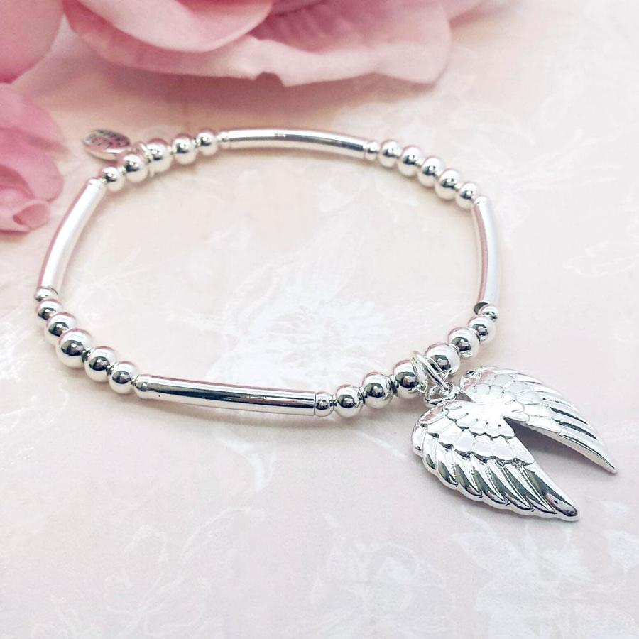 Angels Wings Charm Stacking Bracelet