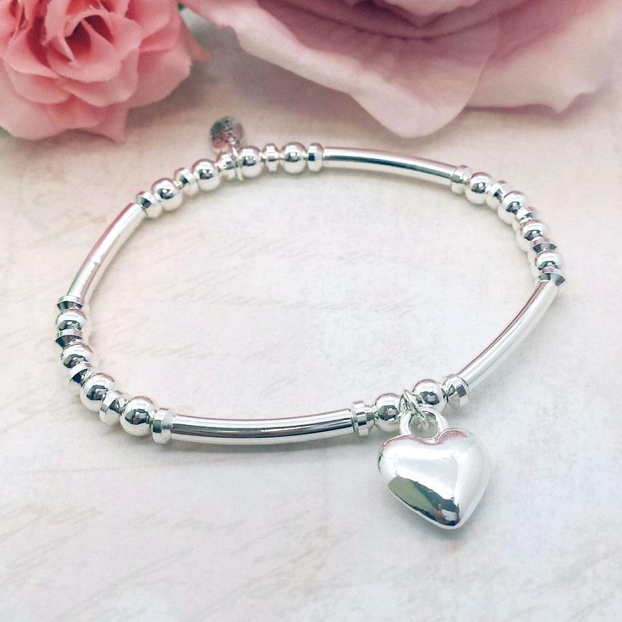 Love Heart Charm Stacking Bracelet