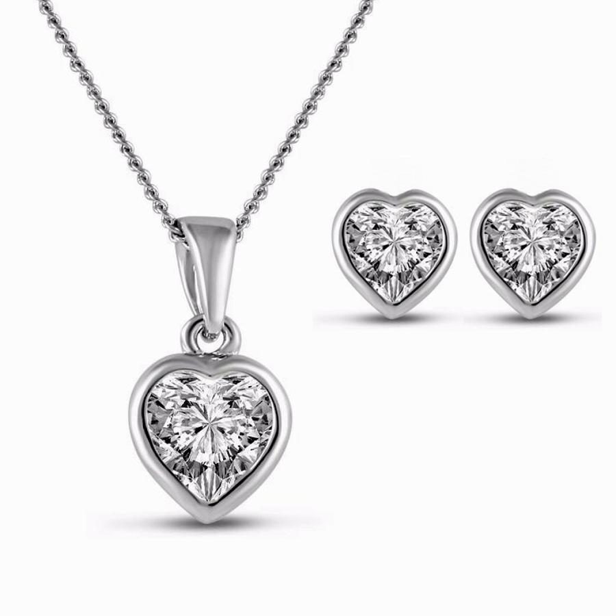 18ct White Gold Plated Rub-Over Set Heart Crystal Set