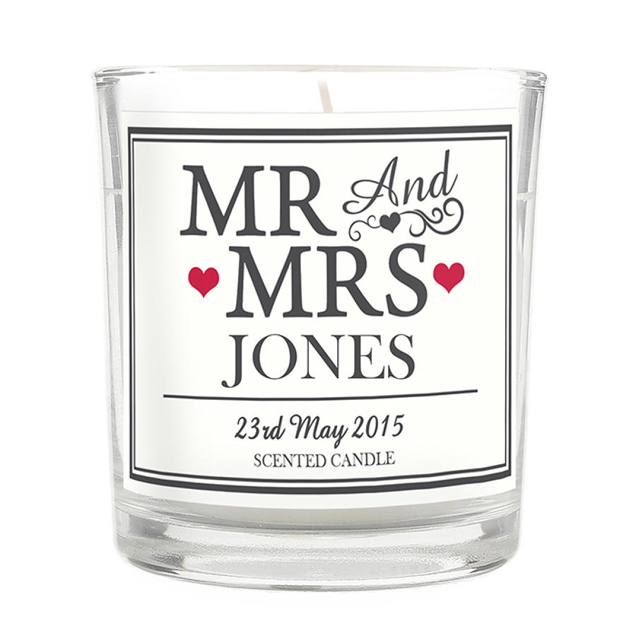 Personalised Mr & Mrs Scented Jar Candle