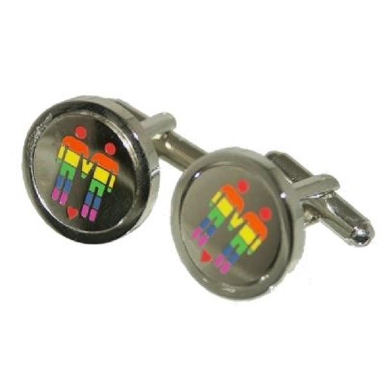 Rainbow 2 Men with Love Heart Cufflinks
