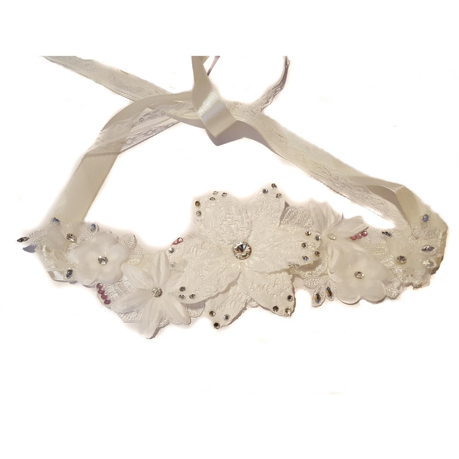 Luxury White Lace Flower Hair Piece or Belt