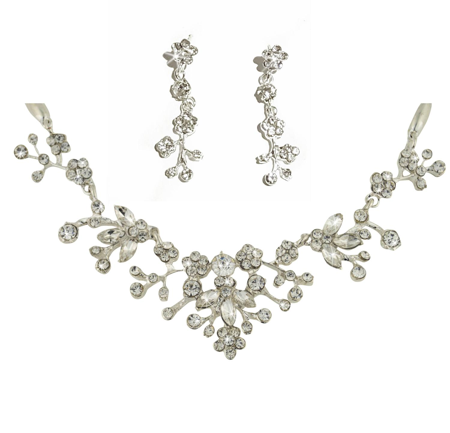 Intricate Flower & Leaf Crystal Necklace & Earring Set