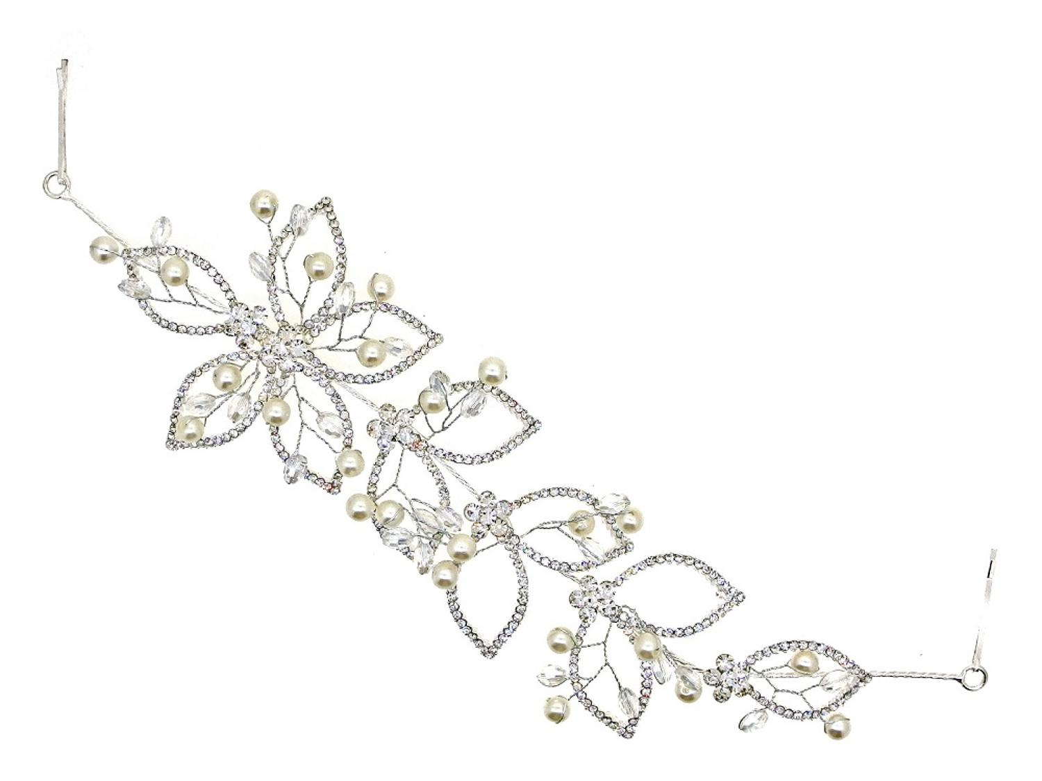 Crystal & Pearl Flower Hair Piece/Vine