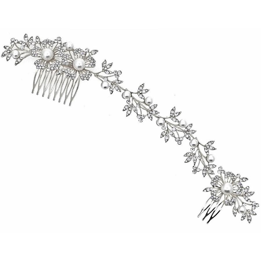 Pearl & Crystal Double Comb Hair Vine