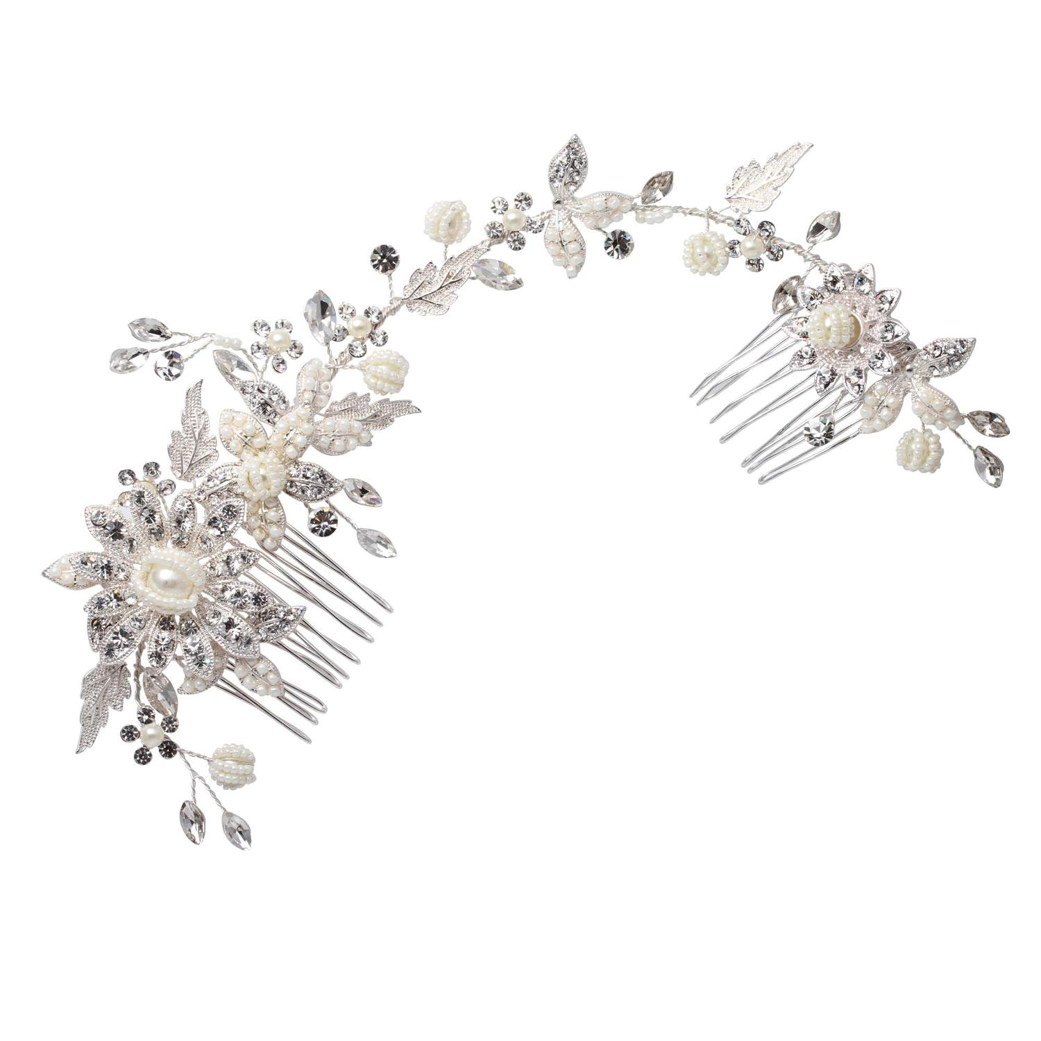 Crystal & Cream Beaded Floral Hair Vine