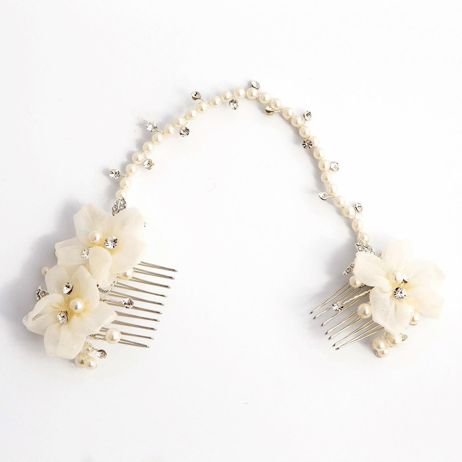 White Flower, Crystal & Pearl Hair Vine