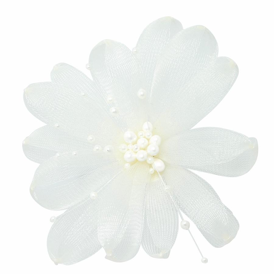 Pearl & White Flower Hair Comb Fascinator