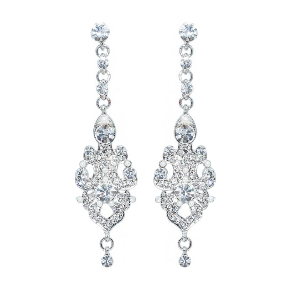 Crystal Drop & Seed Pearl Earrings
