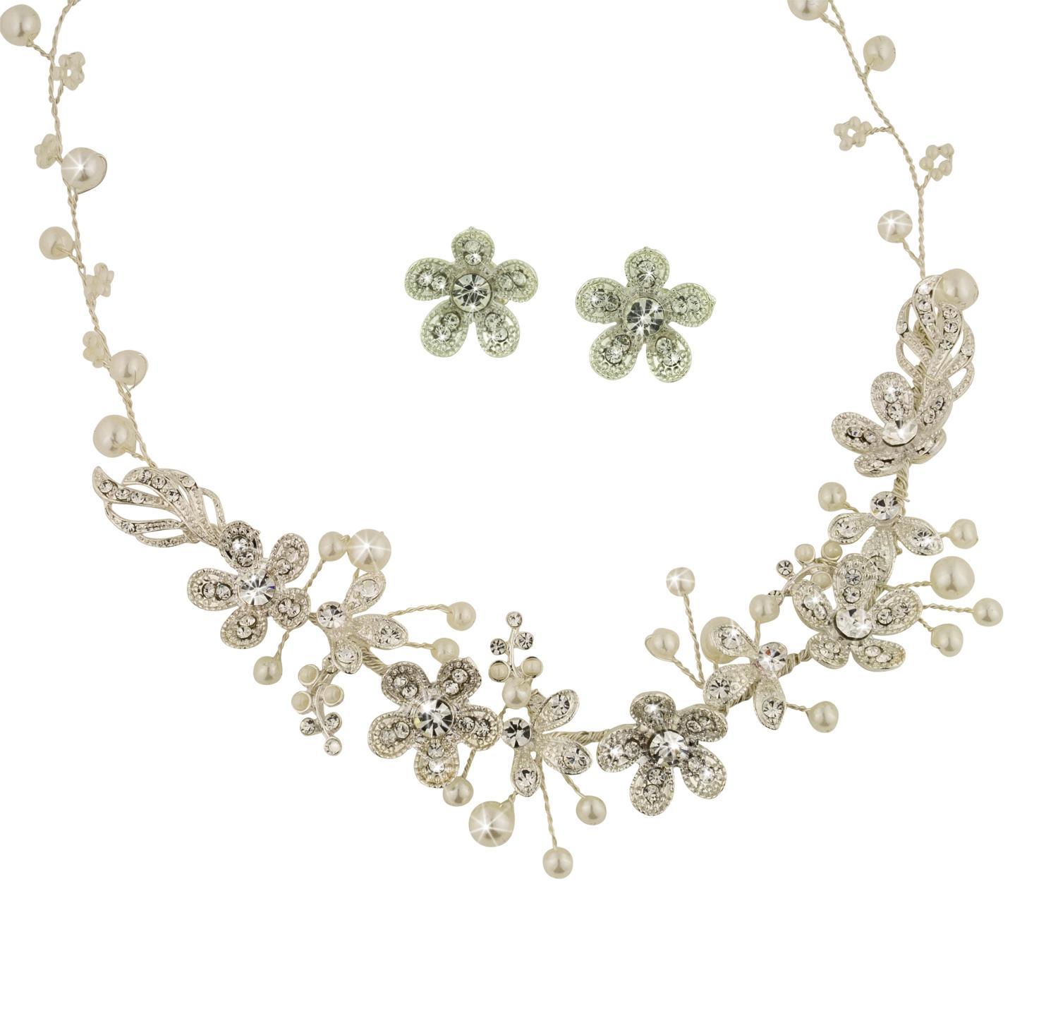 Crystal Flower & Pearl Necklace & Earring Set