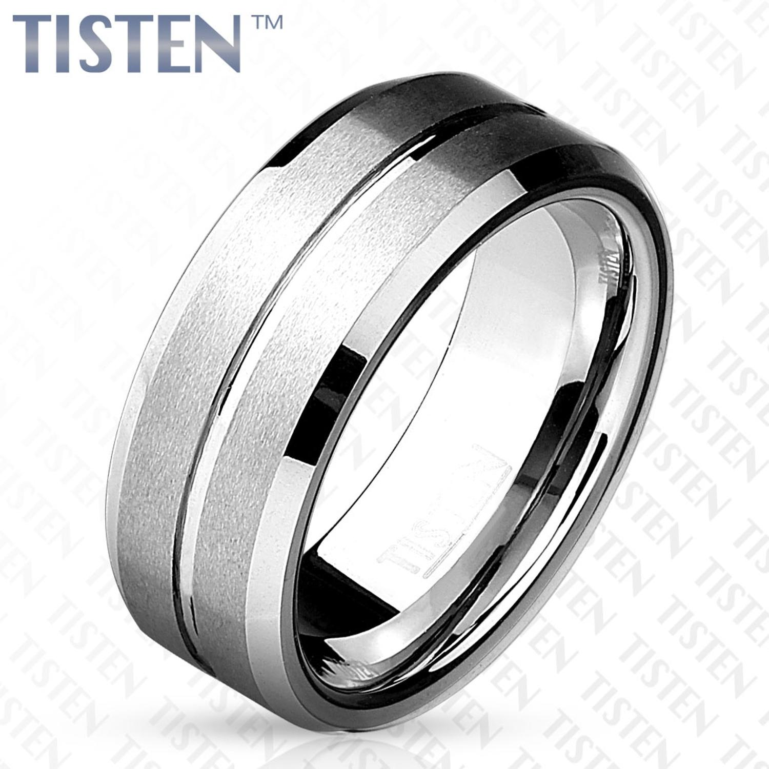 Matte Grooved Line Centre with Beveled Edge Tisten Ring
