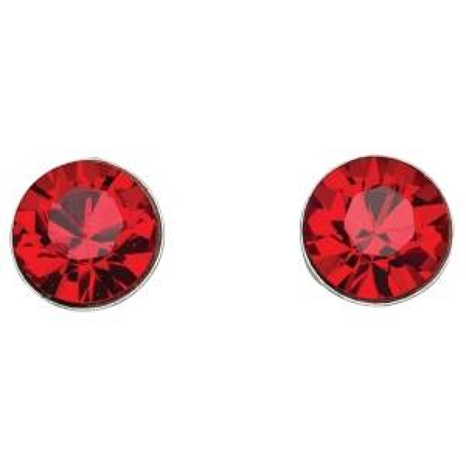Sterling Silver & Red Crystal Stud Earrings