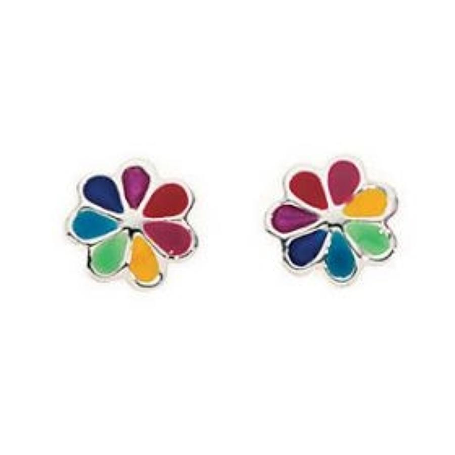 Sterling Silver Multi Colour Flower Stud Earrings