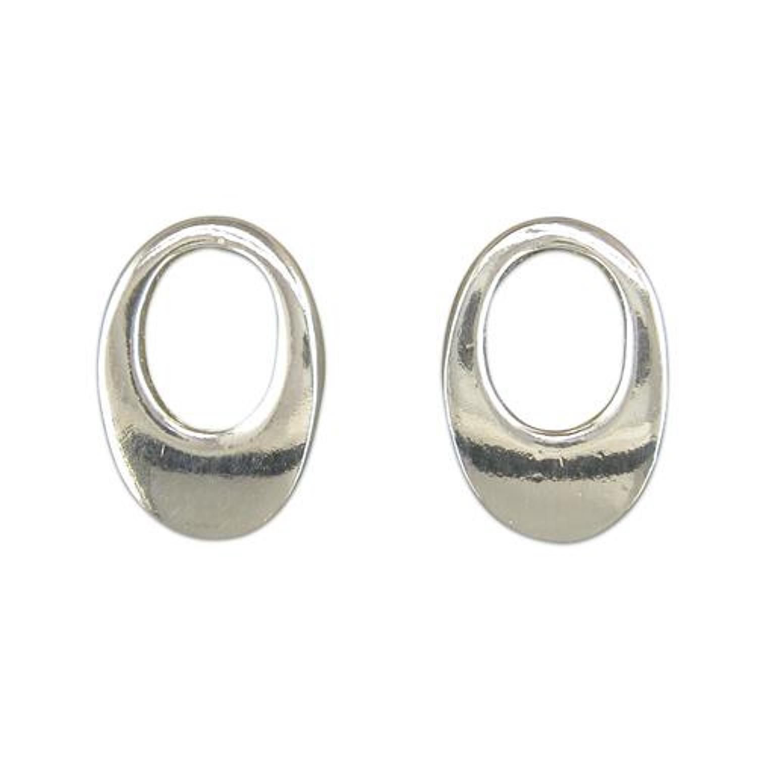 Sterling Silver Open Oval Studs
