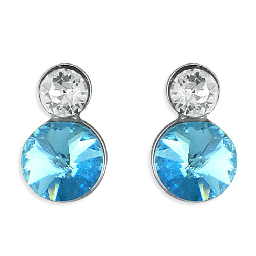 Sterling Silver Blue & White Crystal Studs
