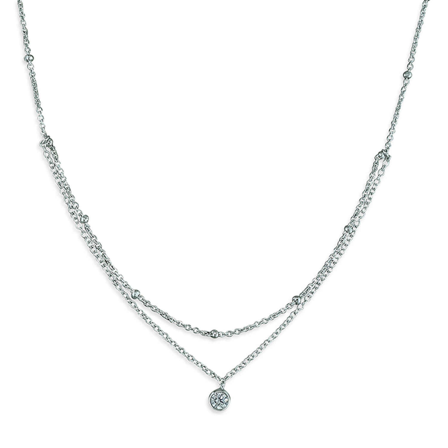 Sterling Silver Double Chain Cubic Zirconia Necklace