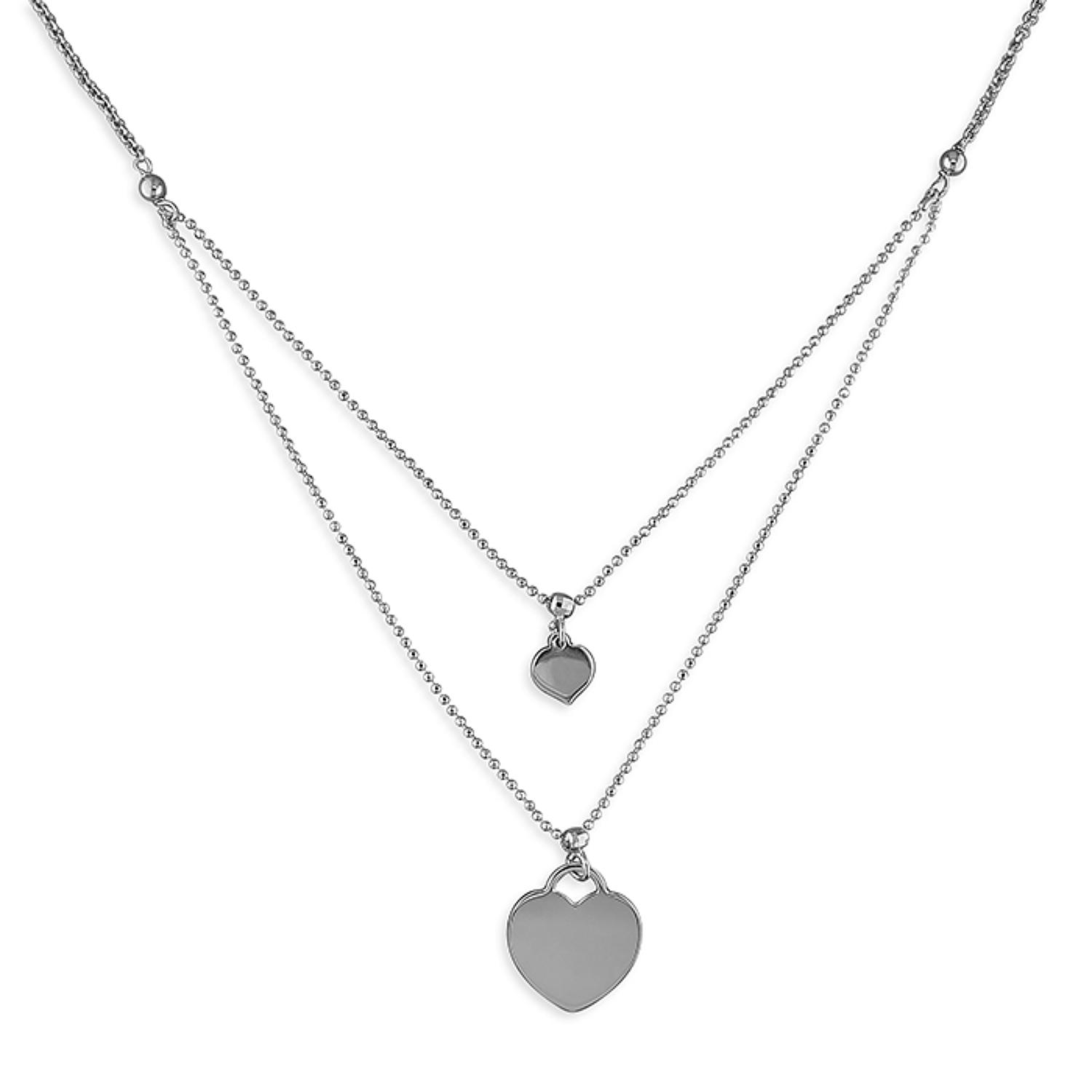 Sterling Silver Double Chain Hearts Necklace
