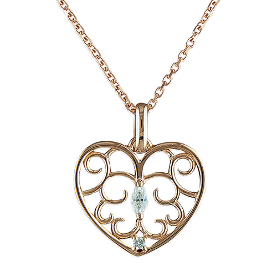Sterling Silver Rose Gold Plated Filigree Heart CZ Pendant