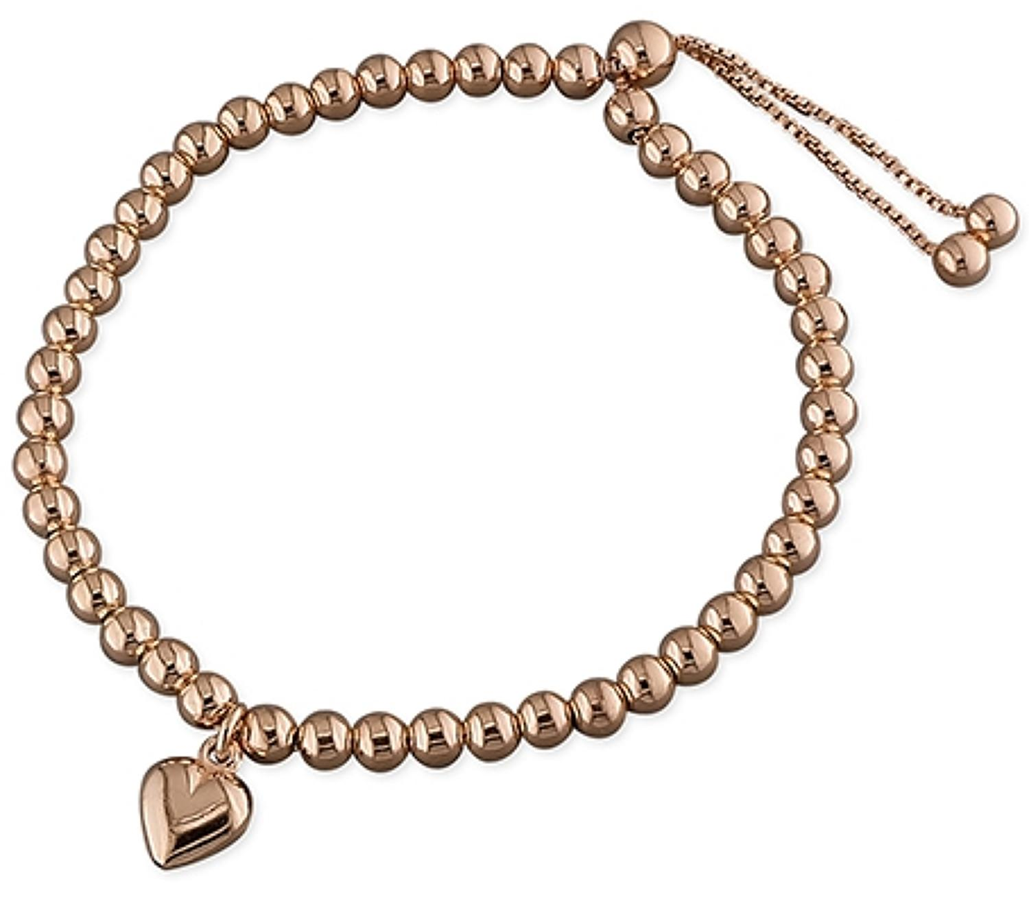 Sterling Silver Rose Gold Plated Heart Charm Bead Bracelet