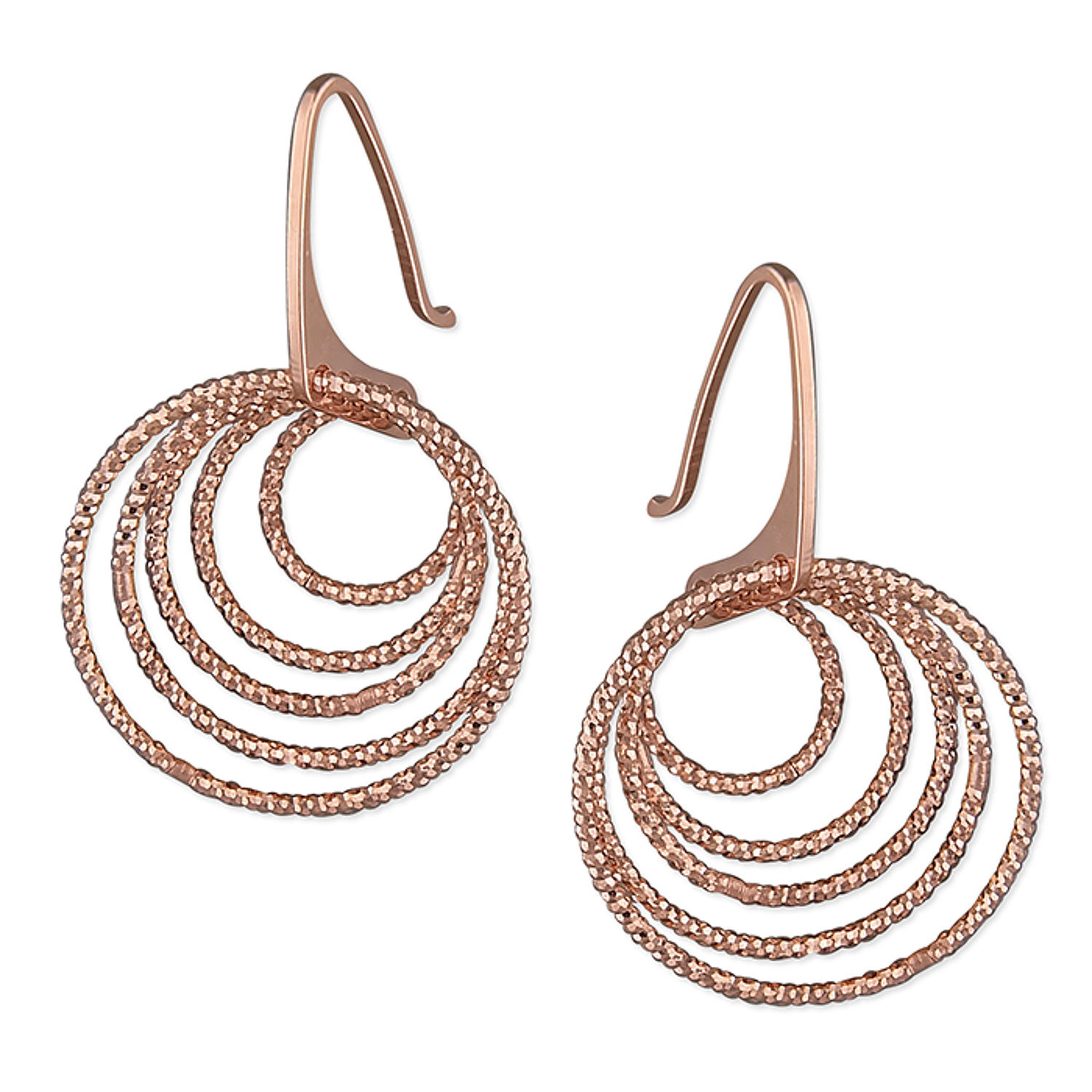 Sterling Silver Rose Gold Plated Multi Round Sparkle Drop Earrings