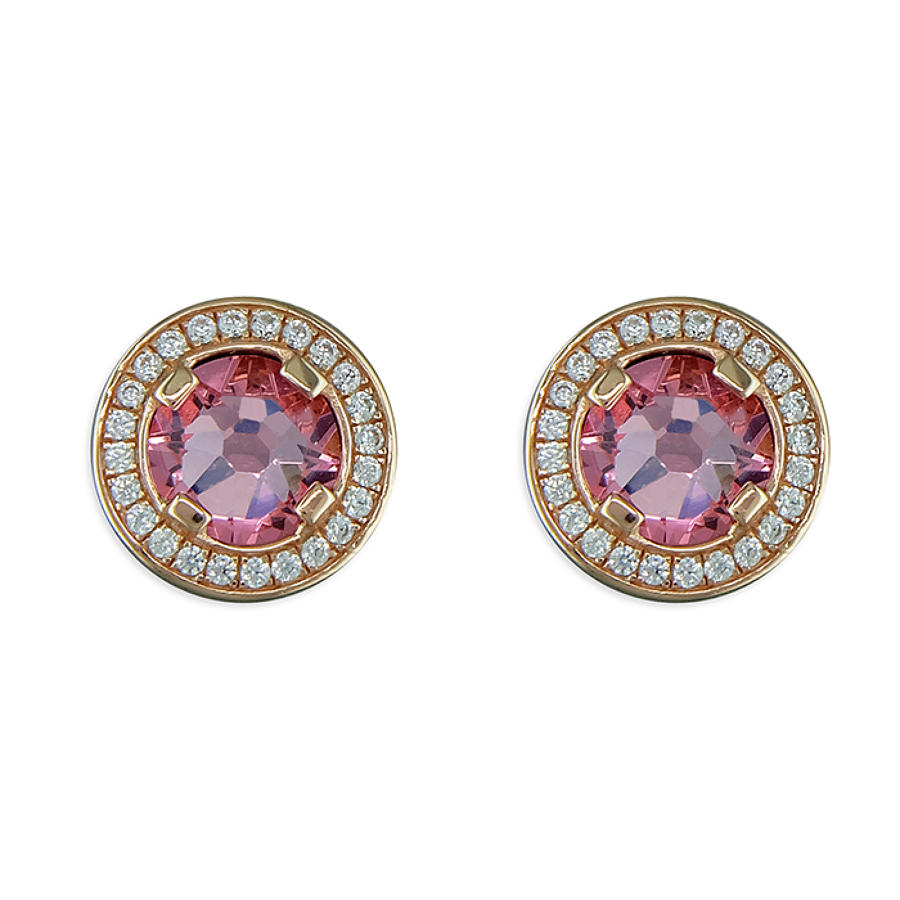 Sterling Silver Rose Gold Plated Pink Cubic Zirconia Cluster Studs