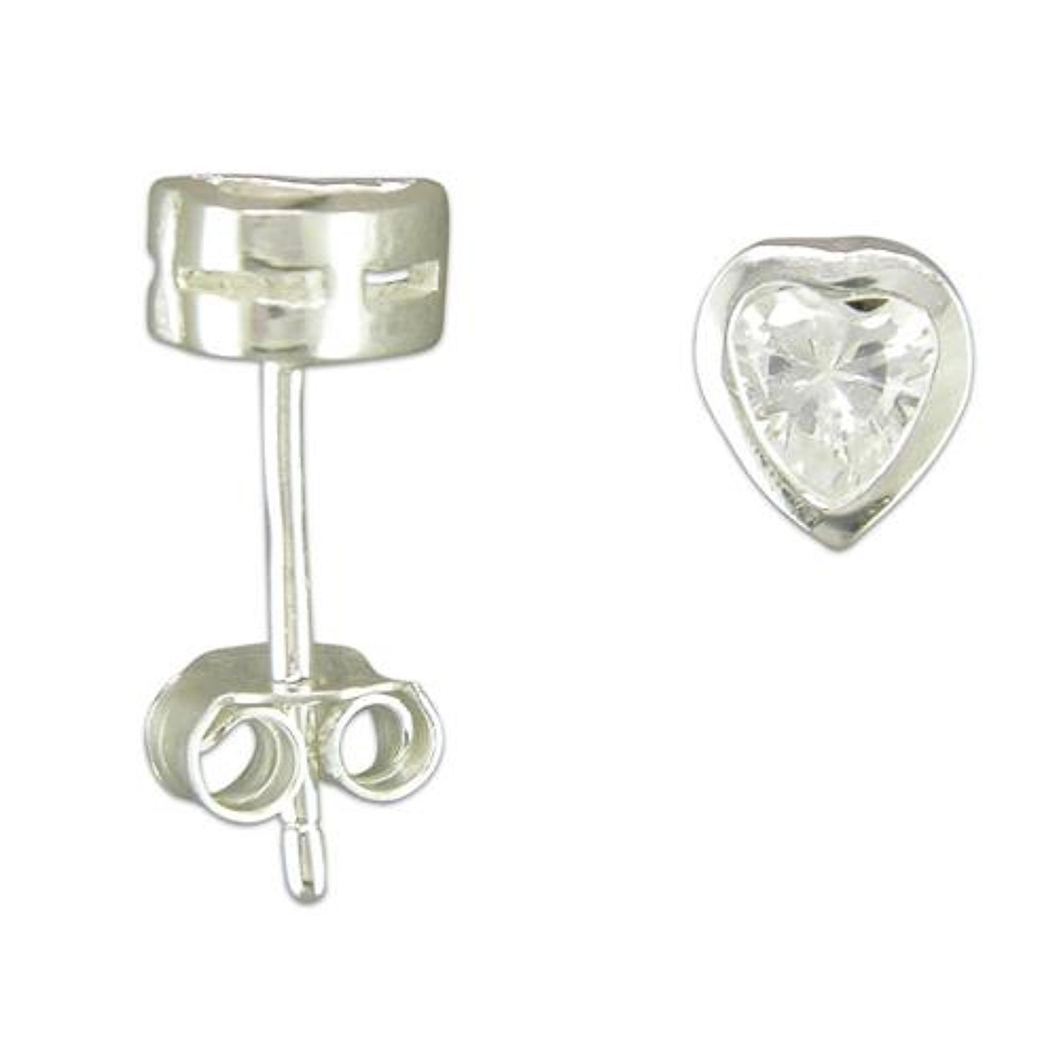 Sterling Silver Cubic Zirconia Heart Stud Earrings