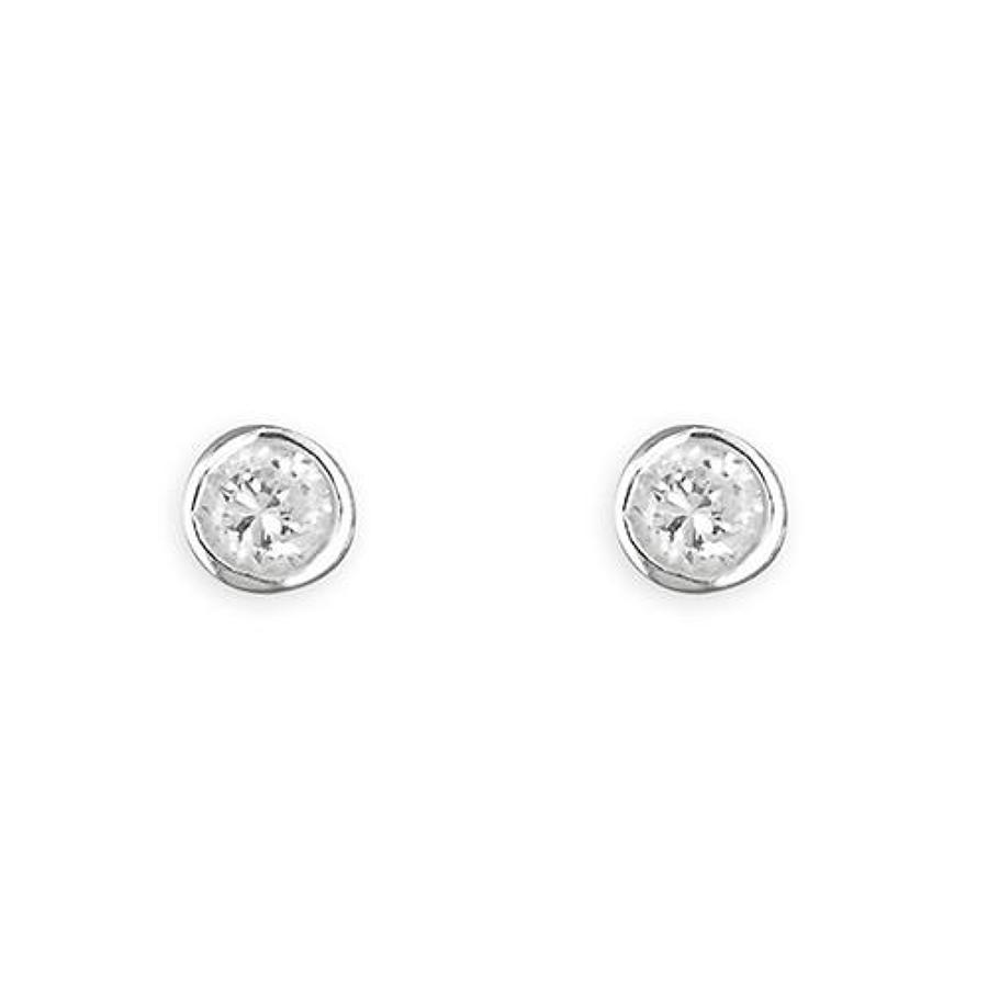 Sterling Silver 3mm Cubic Zirconia Rub-Over Stud Earrings