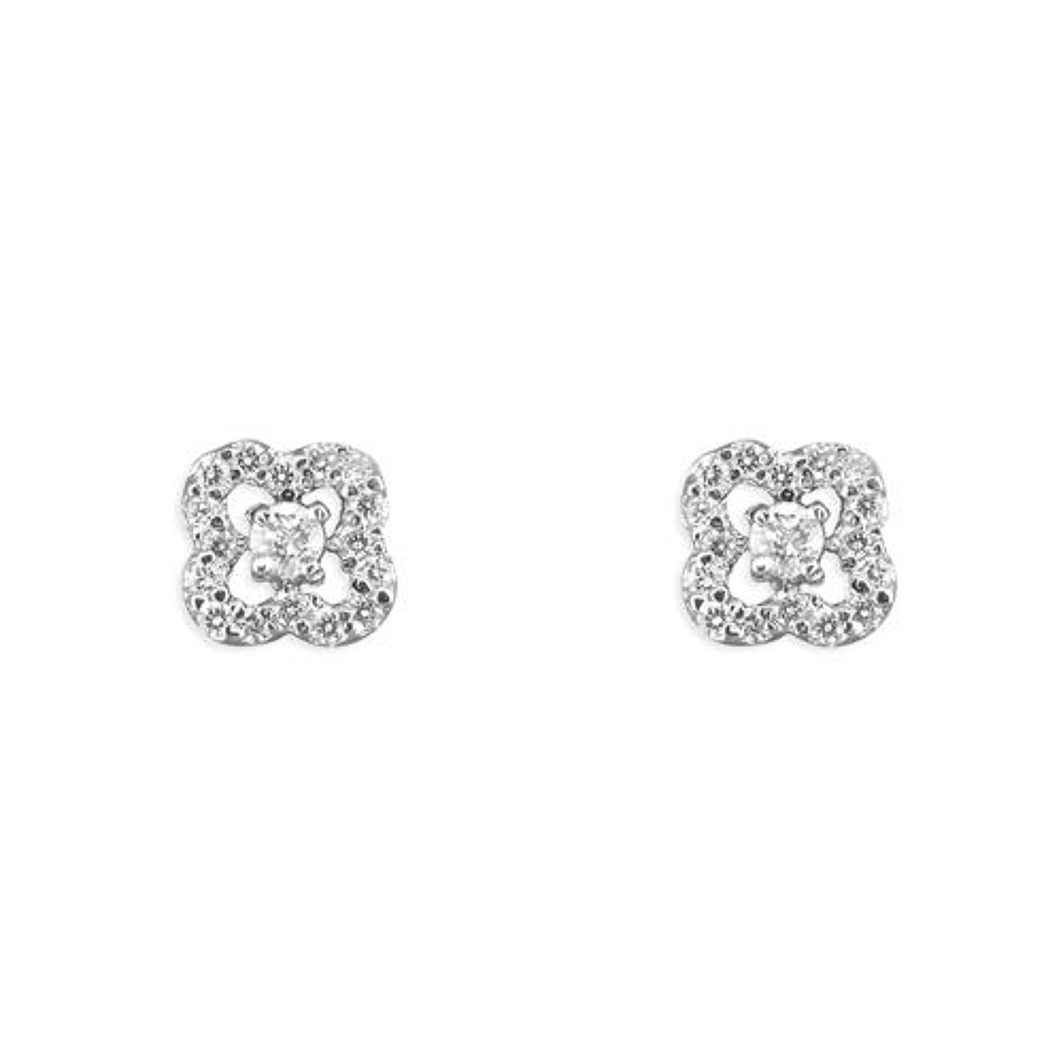 Sterling Silver Cubic Zirconia Flower Stud Earrings