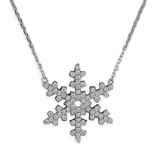 Sterling Silver Cubic Zirconia Snowflake Necklace