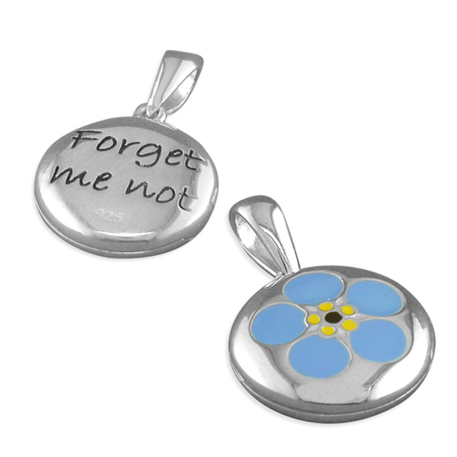 Sterling Silver Forget-Me-Not Enamel Locket