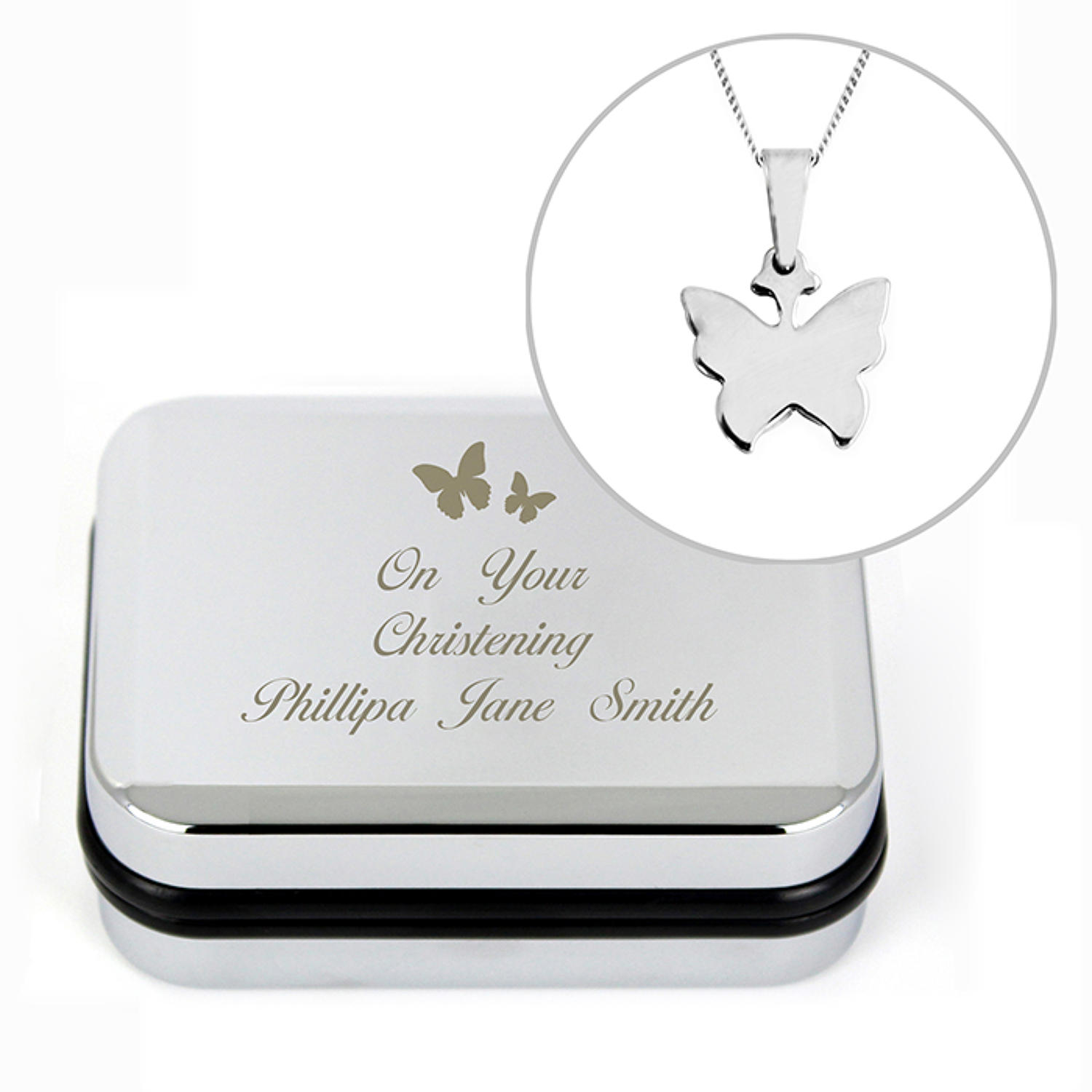 Personalised Butterfly Swirl Necklace in Box & Necklace
