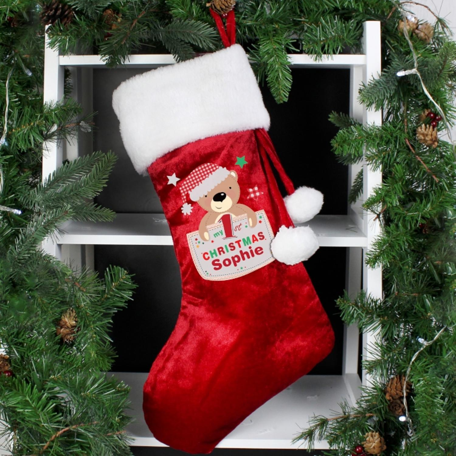 Personalised My 1st Christmas Luxury Teddy Stocking