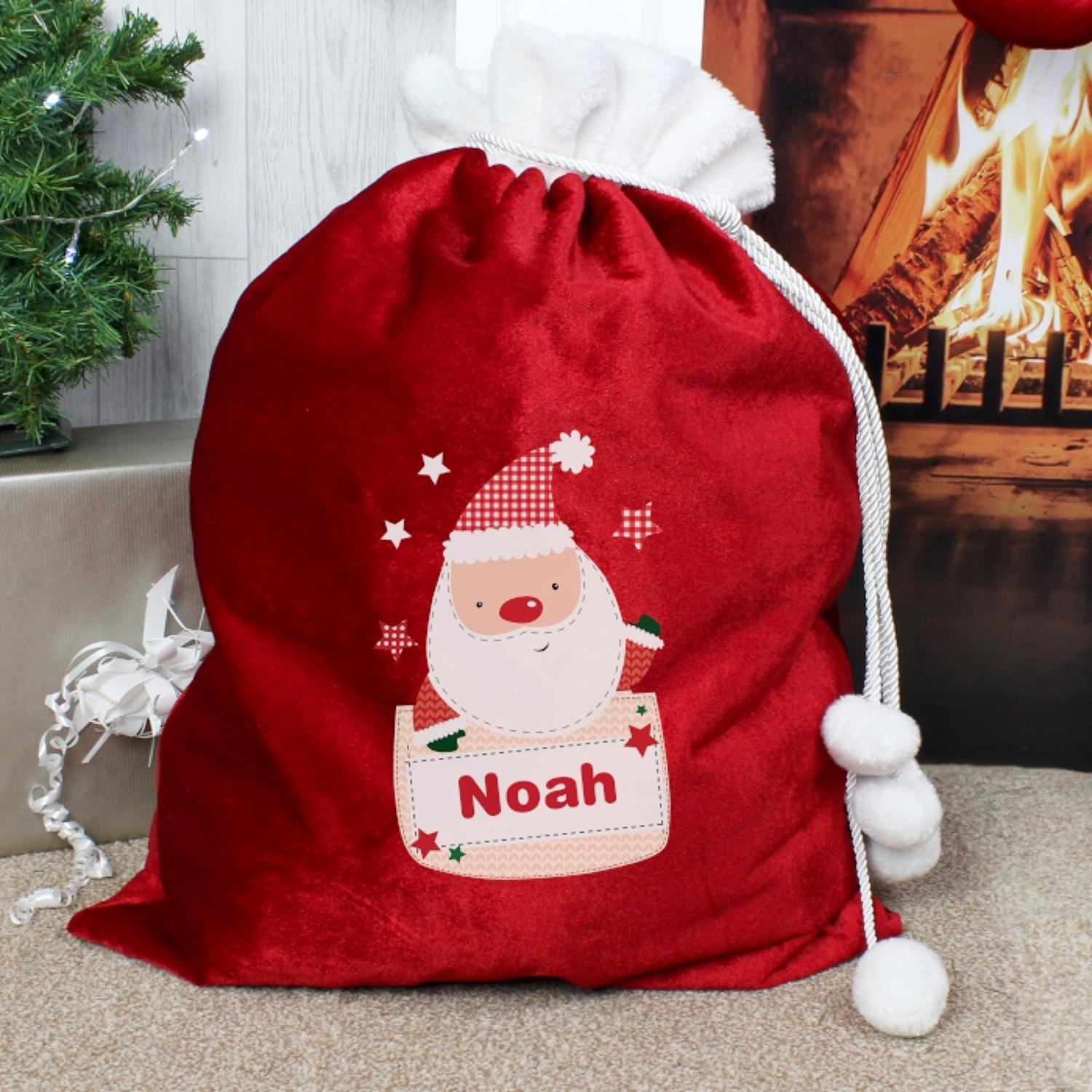 Personalised Pocket Santa Luxury Pom Pom Sack