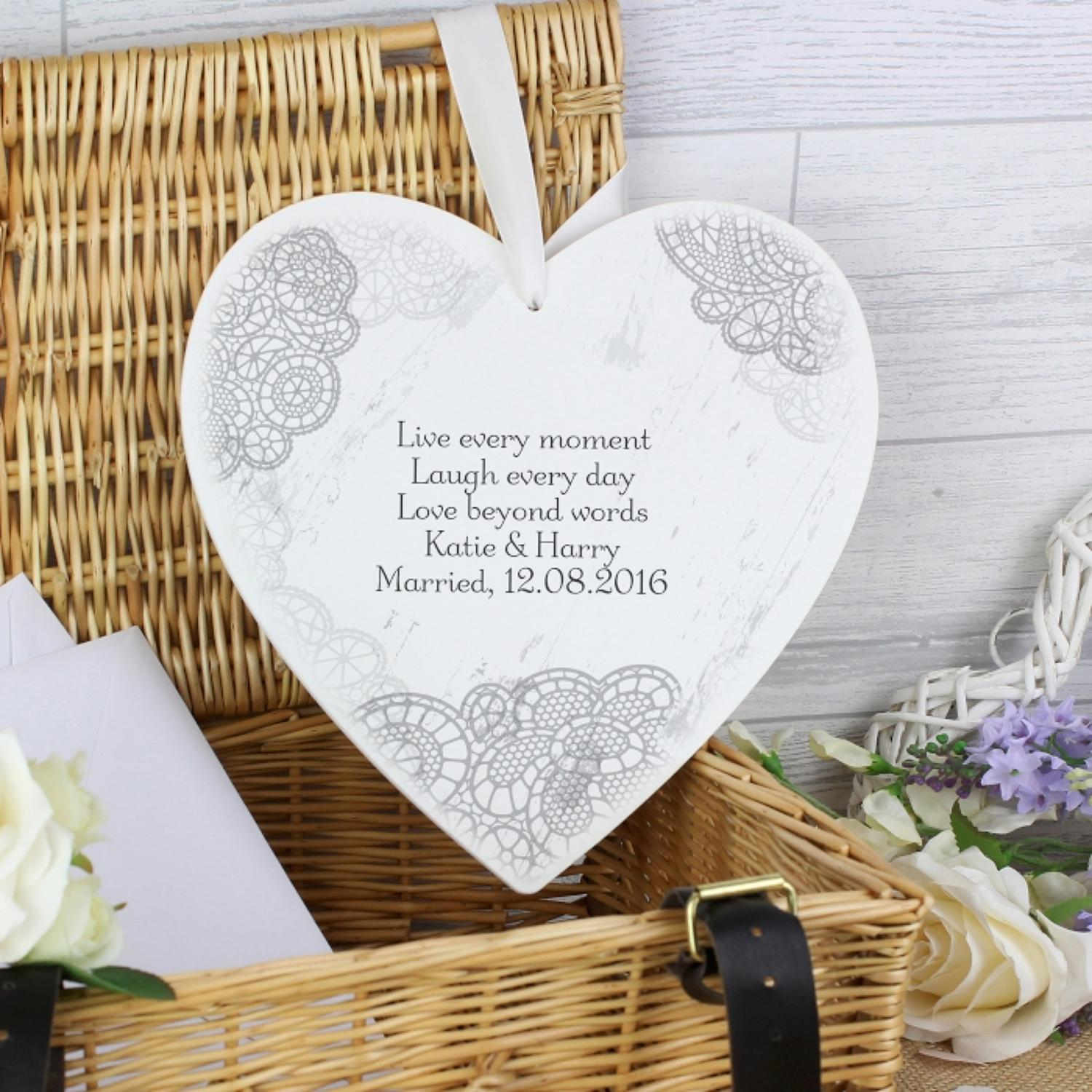 Personalised Large Wooden Heart Dainty Lace  Decoration