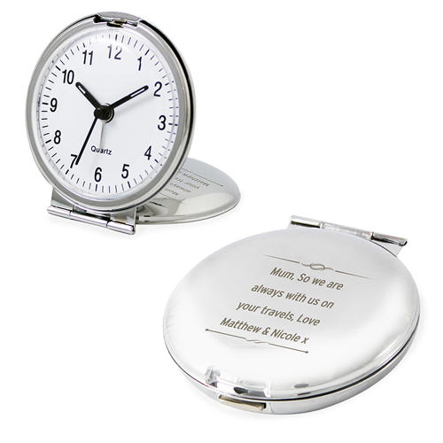 Personalised Scroll Design Round Travel Clock
