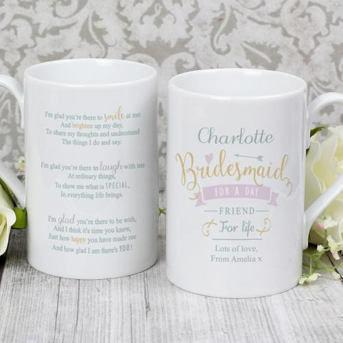 Personalised I Am Glad... Bridesmaid Slim Mug