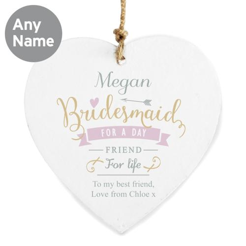 Personalised I Am Glad... Bridesmaid Wooden Heart Decoration