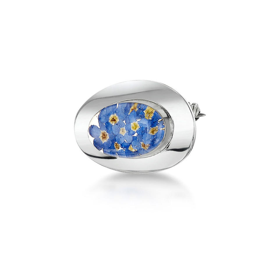 Oval Forget-Me-Not Brooch