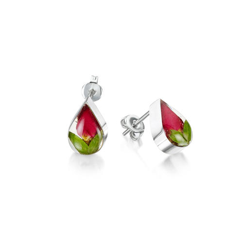 Rose Small Teardrop Pendant Stud Earrings