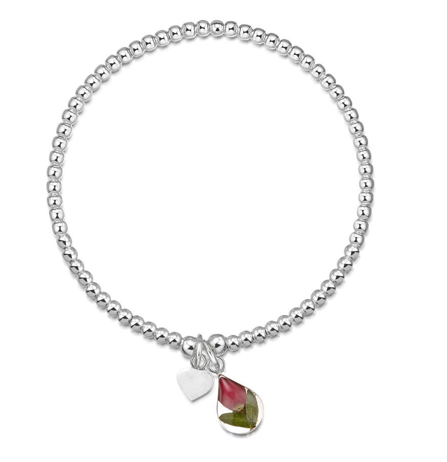 Sterling Silver Rose Charm Beaded Bracelet