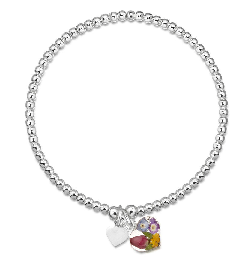 Sterling Silver Mixed Flowers Charm Beaded Bracelet