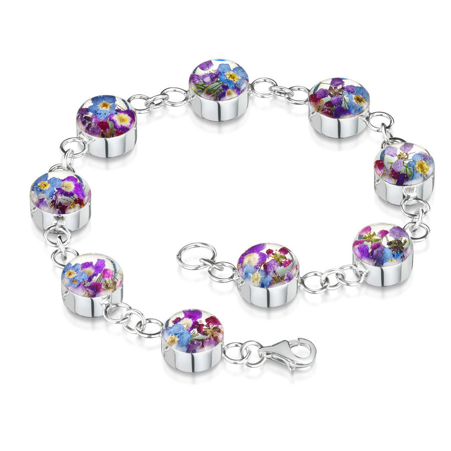 Sterling Silver Purple Haze Flower Bracelet