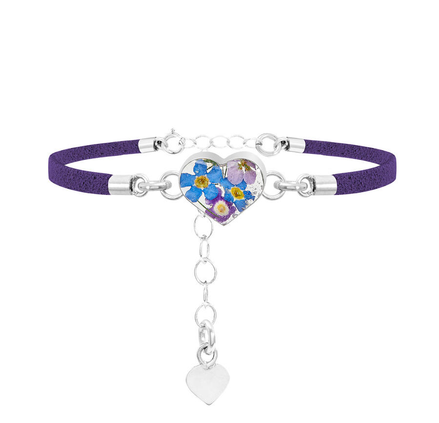 Sterling Silver Purple Haze Heart Corded Bracelet